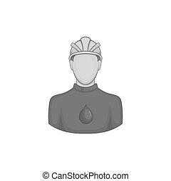 oilman, icono, negro, monocromo, estilo