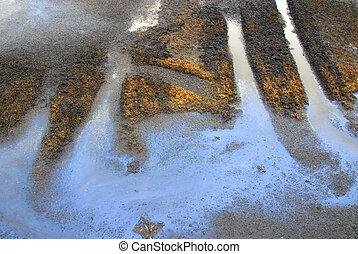 oily water at a waste disposal - oily water and skid marks ...