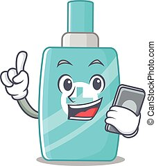 Ointment cream cartoon character speaking on phone. Vector ...