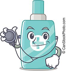 Ointment cream in doctor cartoon character with tools. ...