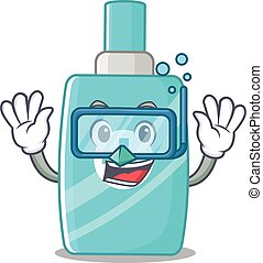Ointment cream mascot design concept wearing diving glasses...