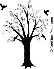 oiseau, arbre, silhouette