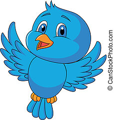 oiseau bleu, dessin animé, mignon