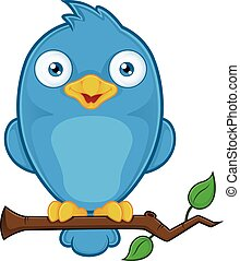 Arbre Oiseau Bleu Branche Bleu Seance Caractere Dessin Anime