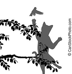 oiseau, chasse, chat