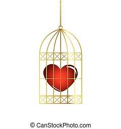 oiseau doré, rouges, cage, coeur