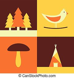 oiseau, ensemble, maison, illustration, champignon, forêt, vecteur, icône