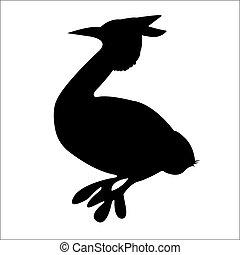 oiseau, eps, 10., vecteur, silhouette.