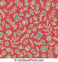 oiseau, escargot, fleur, printemps, seamless, arrière-plan., vecteur, modèle, coccinelle, feuille, floral, heart., papillon