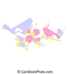 oiseau, fleur blanche, beau, branche
