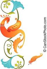 oiseau, folklorique, coloré