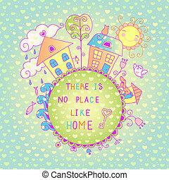 oiseau, fond, doux, cote, maison, chien, flowers.