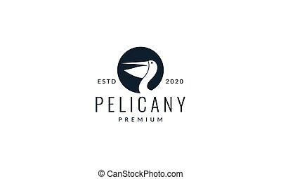 oiseau, illustration, tête, cercle, logo, pélican, vecteur, silhouette, conception