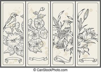 oiseau, main, vecteur, -, dessiné, bannières, fleur, retro