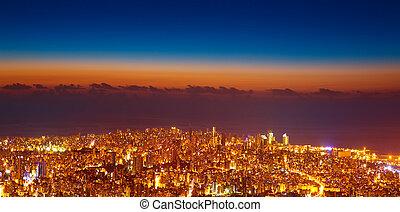 oiseau, oeil, vue, de, nuit, cityscape