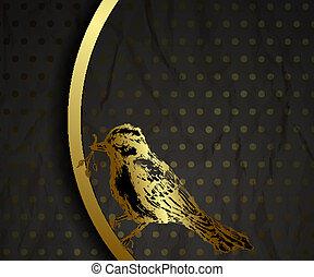 oiseau, or, fond, vendange