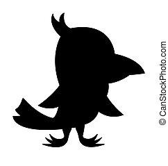 oiseau, silhouette.