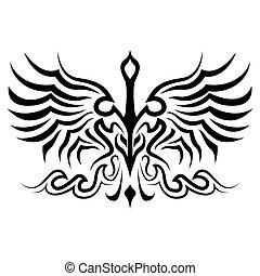 oiseau, silhouette, tatouage