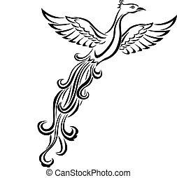 oiseau, tatouage, phénix