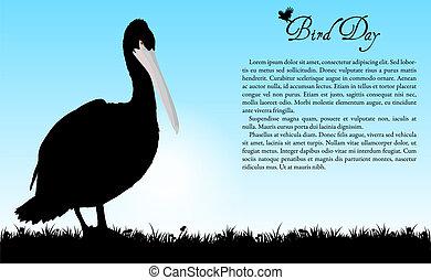 oiseau, vecteur, jour, fond