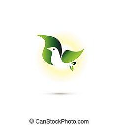 oiseau volant, logo, pousse feuilles