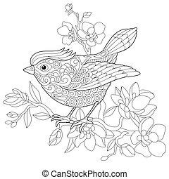 oiseau, zentangle, moineau, stylisé