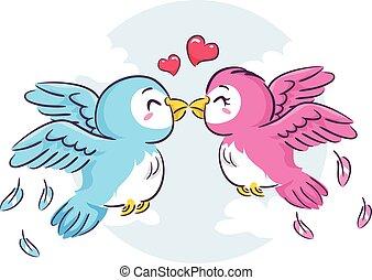 oiseaux, amour, baisers