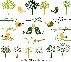 oiseaux, arbres, branches, silhouettes