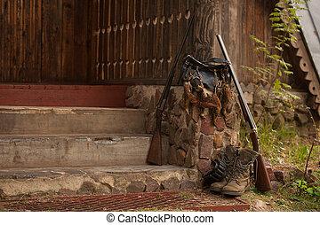 oiseaux, chasse, dehors, accessoires