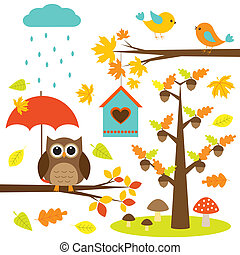 oiseaux, et, owl., automnal, ensemble, de, vecteur, éléments