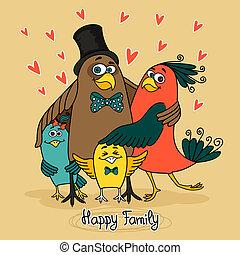 oiseaux, famille, heureux