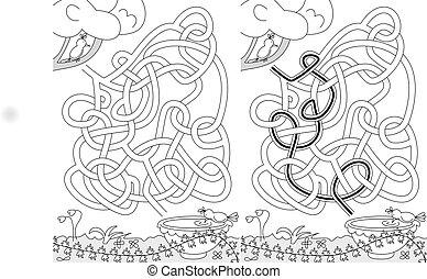 oiseaux, labyrinthe