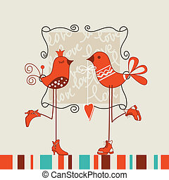 oiseaux, romantique, date
