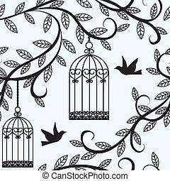 oiseaux volant, et, cage