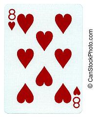 oito, -, cartão jogando, corações