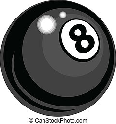 oito, vetorial, desenho, bilhar, bola