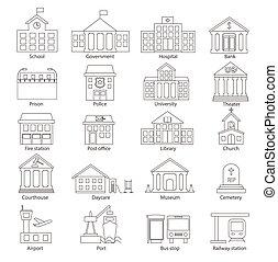oiutline, kormányzati épületek
