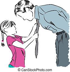ojciec, córka, ilustracja, fa