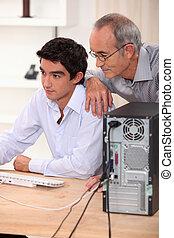 ojciec, computer., syn