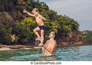 ojciec, dzień czas, syn, plaża, interpretacja