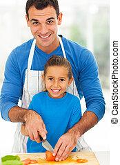 ojciec, gotowanie, córka, razem, szczęśliwy