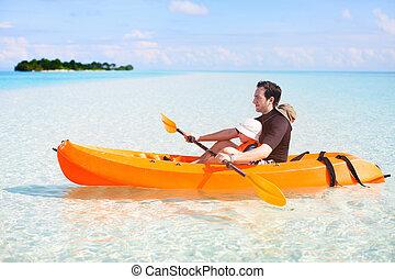 ojciec, kayaking, córka
