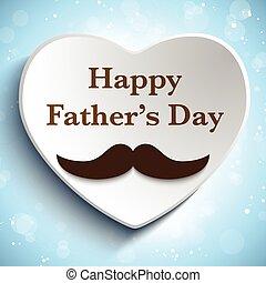 ojciec, miłość, dzień, wąsy, szczęśliwy