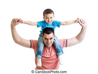 ojciec, odizolowany, syn, biały, interpretacja, koźlę