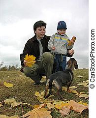 ojciec, pies, syn