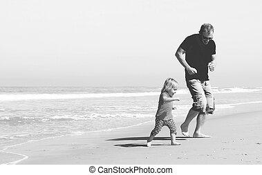 ojciec, plaża, córka
