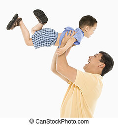 ojciec, podnoszenie, son.