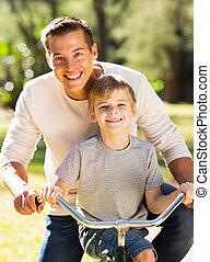 ojciec, rower jeżdżenie, syn