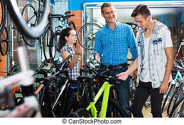 ojciec, rower, samica, syn, store., sprzedawca