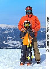 ojciec, skiers, syn